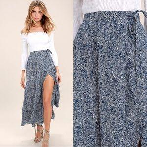 Lulu's Tempest Navy Print Faux Wrap Maxi Skirt